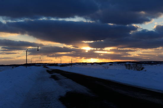 冬の日、道道444号線の夕日