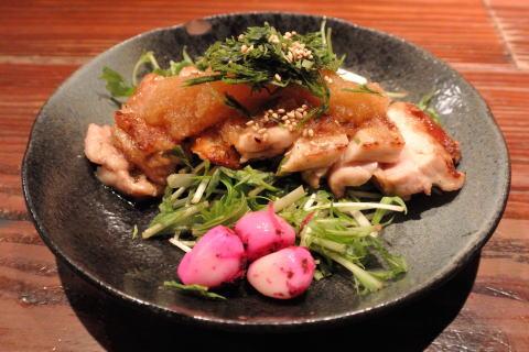 富士鶏炭火焼、おろしポン酢で