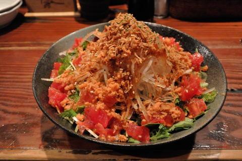 鮭と水菜のシャキシャキ大根サラダ