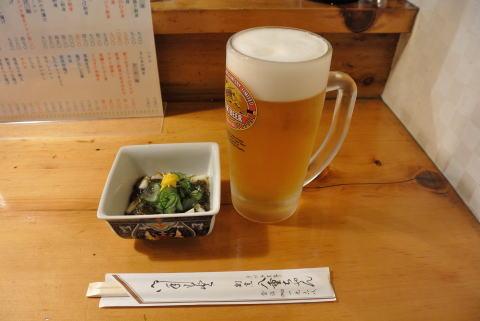 生ビールと「体にとっても良い酢の物」