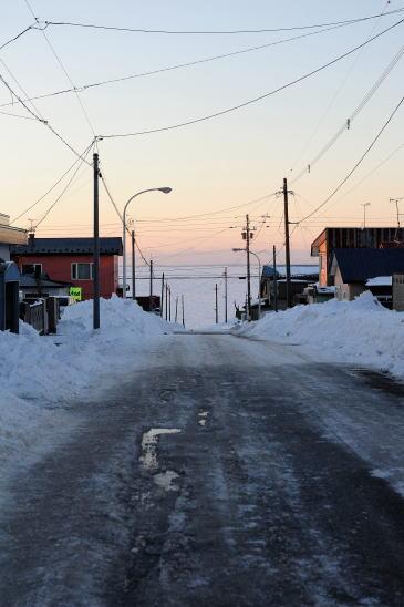 冬、根室の街