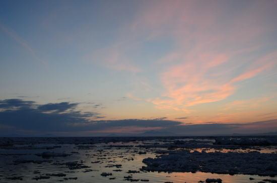 流氷原の朝