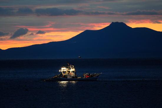 明けゆく国後島と定置船の漁火