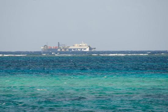 沖を行く琉球海運の船