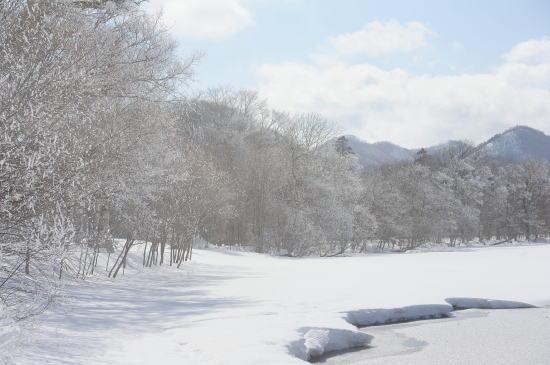 霧氷の屈斜路湖畔