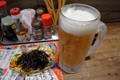 生ビールと昆布の醤油炒め