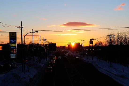 国道44号線の夕日