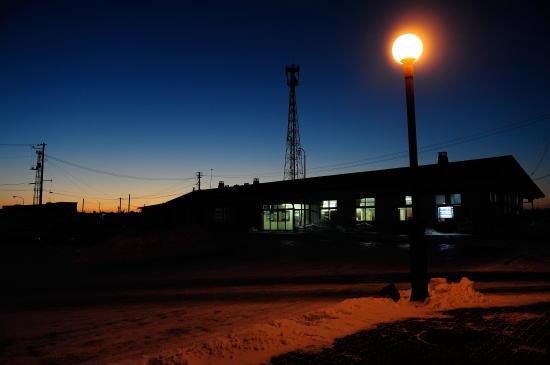 夜明け前の根室駅