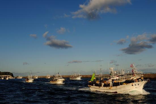 出漁するイカ釣り船