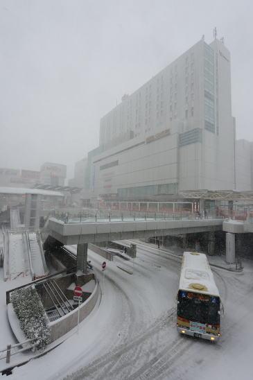 相模大野北口、雪降る日