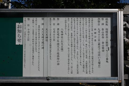金山神社 由緒沿革 解説板
