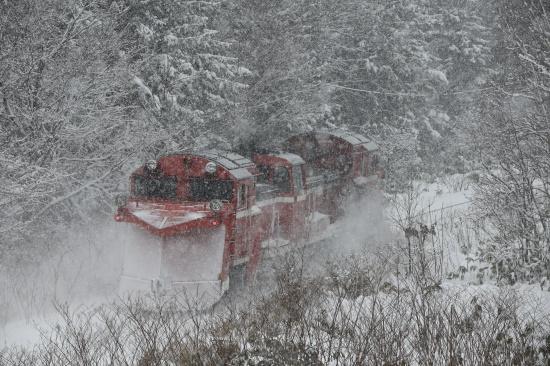 雪の日、宗谷線ラッセル車