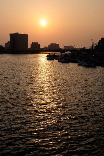 久寿里橋からの夕日