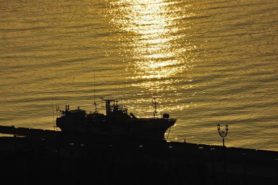夕日に輝く港