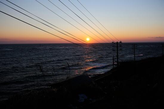 釧路埼の昆布干場の夕日