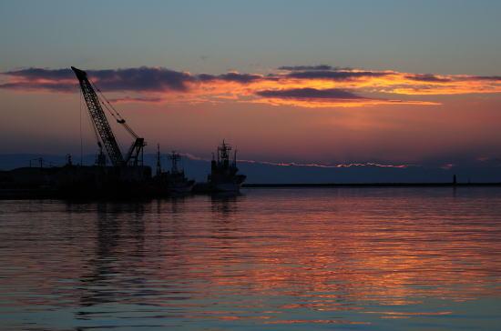 釧路川河口の夕暮れ