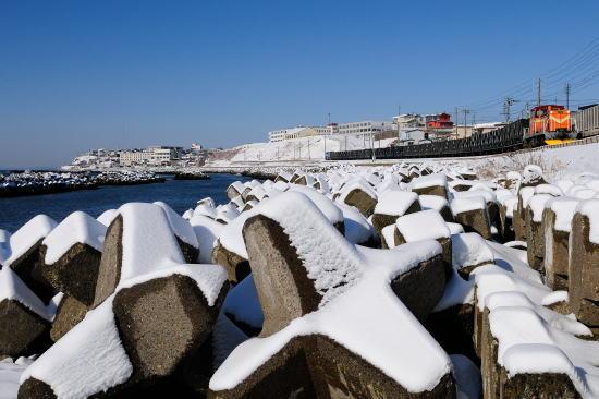 雪晴れの日、千代ノ浦にて