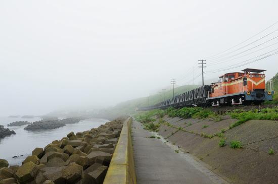 霧の日、弁天ヶ浜にて