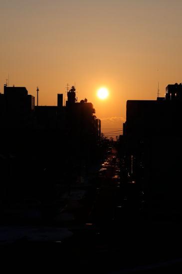 夕日と釧路の街並み