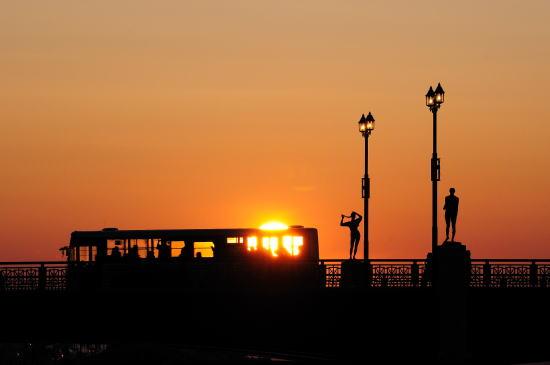 夕日と路線バス