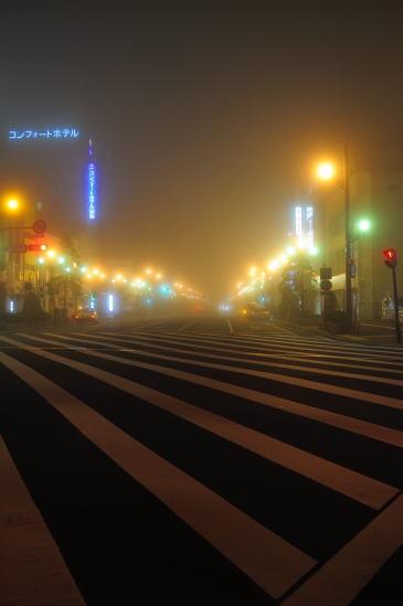 霧に霞む夜の北大通