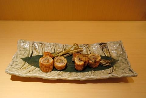 谷中生姜の肉巻き揚