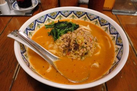カレー担々麵(刀切麺)