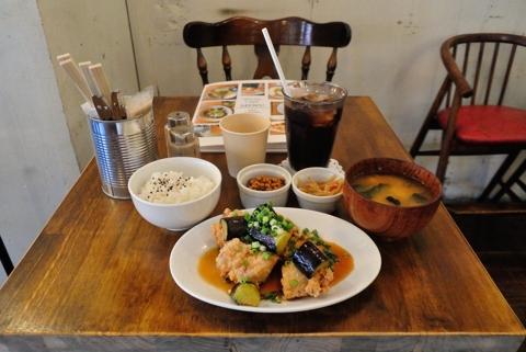 ナスと鶏のからあげの甘酢和え定食 +ランチドリンク